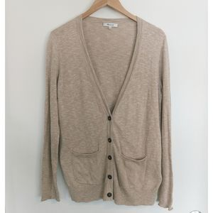 Madewell Tan Cardigan With Tortoise Buttons